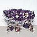 Ametista contas de ágata preta pulseira artesanal jóias pulseira homens mulheres jóias antigas pingente de prata 0219