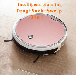 Robot Vacuum Cleaner para Casa Úmida e Seca Limpar Grande Tanque de Água Duplo Filtro, Ciff Sensor com elétrico de parede