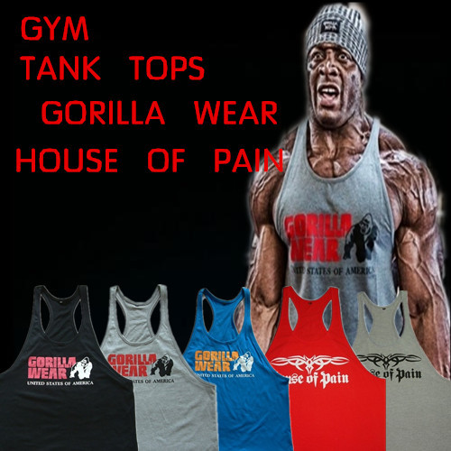 50a1c6a835281 Gorilla Wear Classic Tank Top Men s Muscle Gym Tank Tops for Fitness    Bodybuilding 100% cotton Loose training Suit
