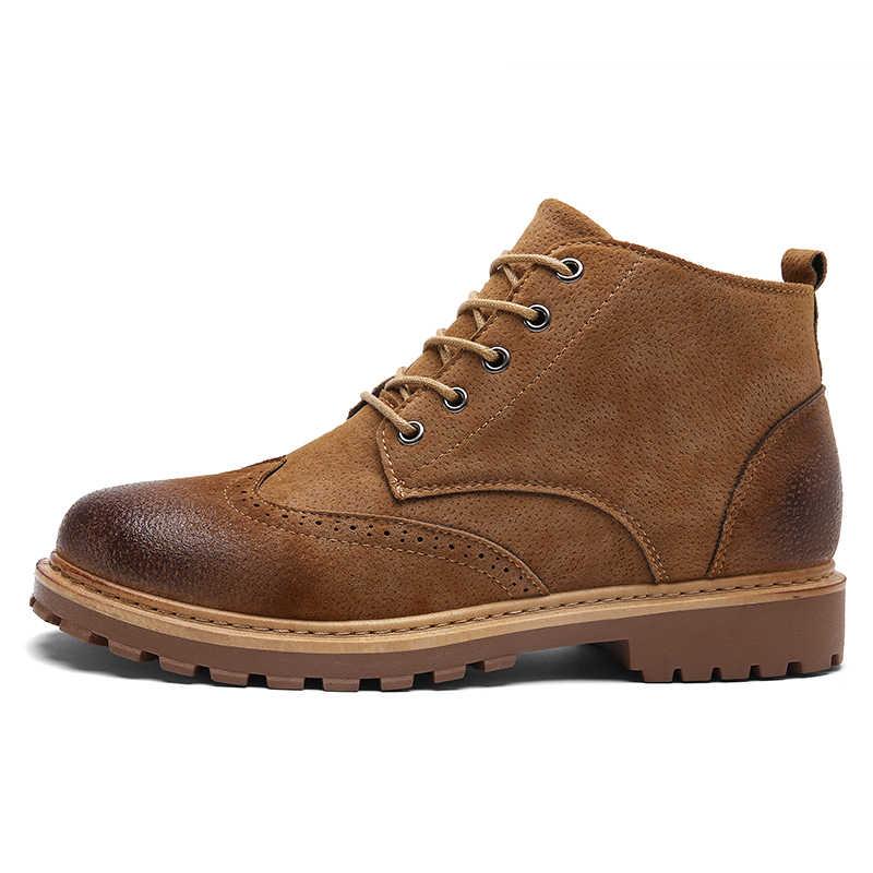 b69236fce6a KOZLOV Winter Men Warm Fur Boots Men Italian Fashion Brogue Shoes Men  Casual Leather Work Safety Boots For Men Green Botas Bot