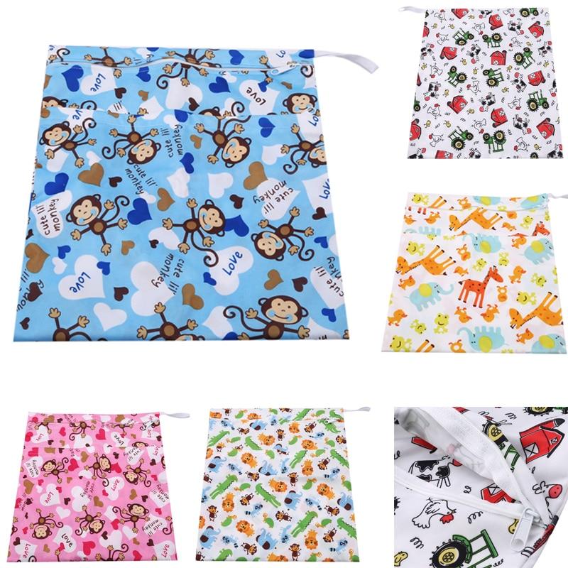 1PC Fashion Prints Wet Dry Diaper Bag Reusable Waterproof Zipper Cloth Handle Wetbags Cover WetBag 36*30CM Wholesale