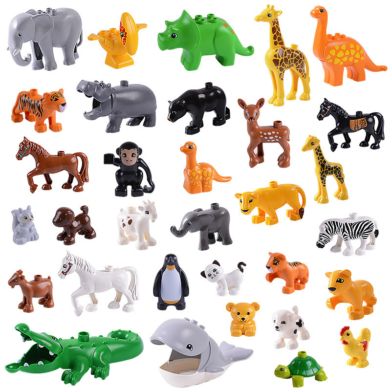 Big Size Animal Diy Model Figures Building Block Sets Elephant Monkey Horse Compatible With L Brand Duplo Toys For Children Gift big particles model building blocks forest paradise house sets children toys diy city bricks compatible with duplo birthday gift