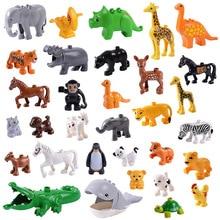 Nagy méretű állatok Diy modell számok Építőelem-készletek Elefánt majom ló kompatibilis L márka Duplo játékok gyerekeknek Ajándék