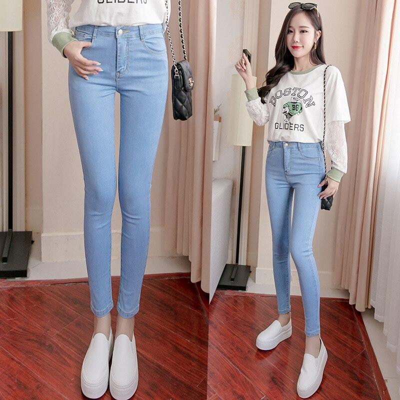 Nonis Women Classic Full/Ankle length High Waist High Stretch Pencil   jeans   Girl Skinny Slim Fit Leggings Denim Pants Trousers