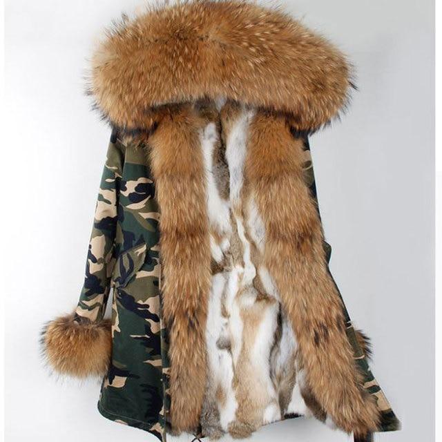 Fashion Women's Rabbit Fur Lining Hooded Long Camouflage Coat Parkas Outwear Army Green Large Raccoon Fur Collar Winter Jacket
