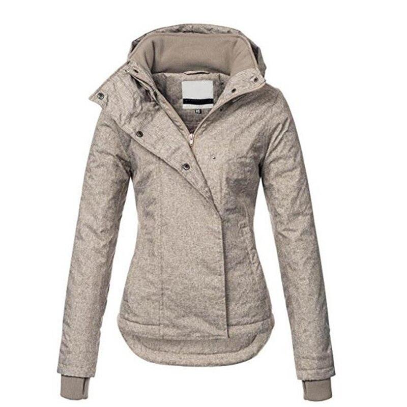 Для женщин пальто с капюшоном осень тонкий повседневные карман зимние куртки Мода Асимметричный теплый ветрозащитный ветровка одноцветно...