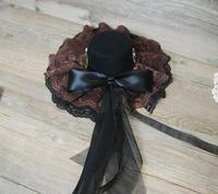 Steampunk Mini Top Hat Akcesoria do Rock Rockabilly Fancy Dress Czarny Welon z Brązowy Koronki Kapelusze
