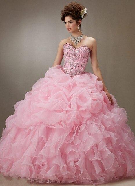 5ce164b526 Nuevo color de rosa 2017 del vestido de bola vestidos de quinceañera con  gradas riza sweet