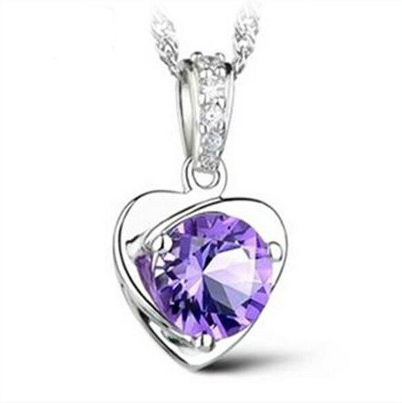 OMHXZJ hurtownia biżuterii serce kobieta naturalny ametyst kpop gwiazda 925 srebro bez łańcucha naszyjnik zawieszki charms PE04