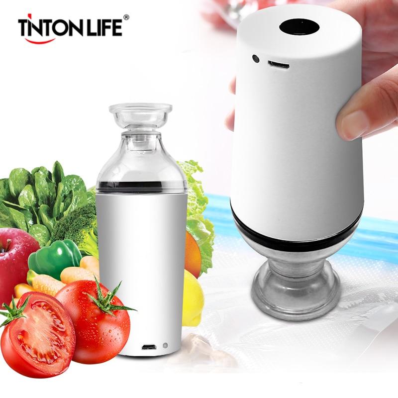 Tinton Life Handheld Food Vacuum Sealer Packaging Machine Film Container Sealer Vacuum Packer With Vacuum Zipper Bags|  - title=