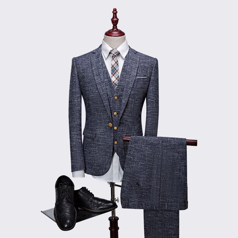 Jacket + pant + vest) 3 piezas traje de los hombres de alta calidad ...