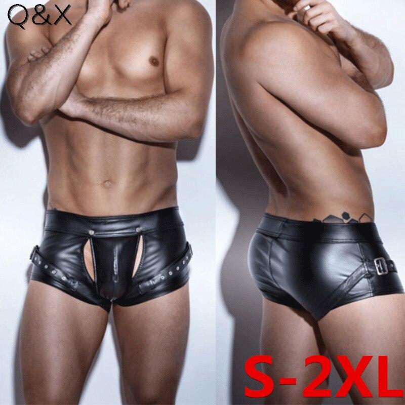 XX91 2018 Sexy Panties Faux Leather Four Boxer Shorts Sexy Open Crotch Bodysuit Short Panties Lingerie Men Underwear