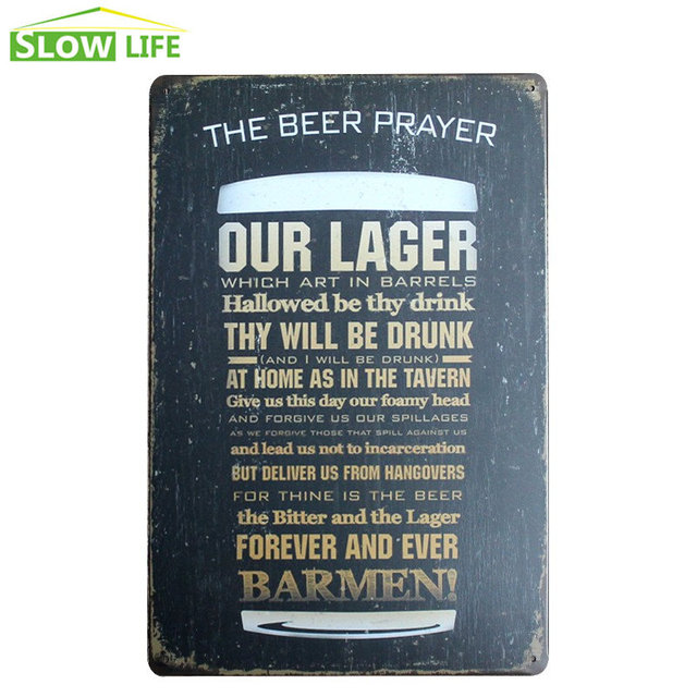 The Beer Prayer Tin Sign Bar Pub Hotel Wall Decor Metal Vintage Home
