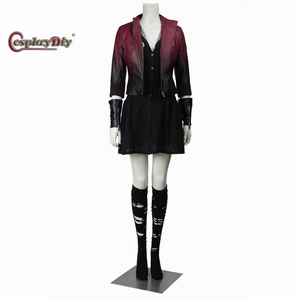 Avengers Age Of Ultron Wanda Maximoff Scarlet Witch Cosplay Costume Lady Outfit