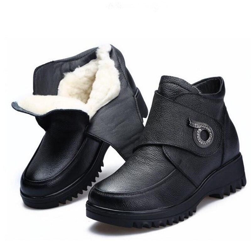 Del Comodidad Caliente Zapatos Elegante De Moda Mujeres Zxryxgs Invierno Vaca Nieve Antideslizantes Planas Botas Piel 018 Negro Las Lana Marca PqOw1