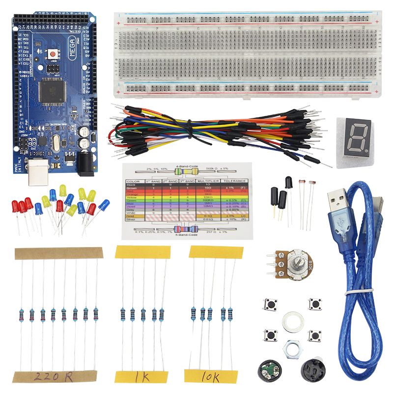 Raspberry pi 3 Basic Starter Kit Breadboard + Jumper Cables for UNO R3 for Mega 2560 with Retail Box uno r3 breadboard advance kit