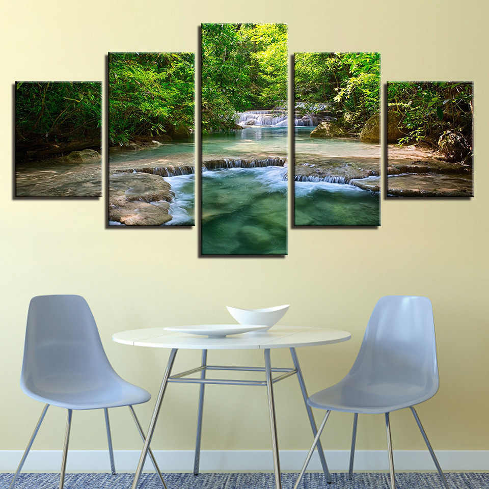 Colomac Modern Minimalist Home HD Prints Five Pieces Wall Decor Picture  Big Tree Landscape Canvas Painting Modern Home Decor