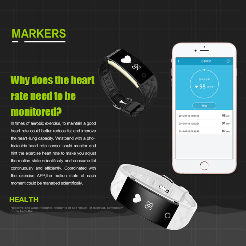 In Stock XGODY S2 Smart Band Pedometer Heart Rate Monitor Smart Bracelet Fitness Tracker Wristband for iOS Android Waterproof