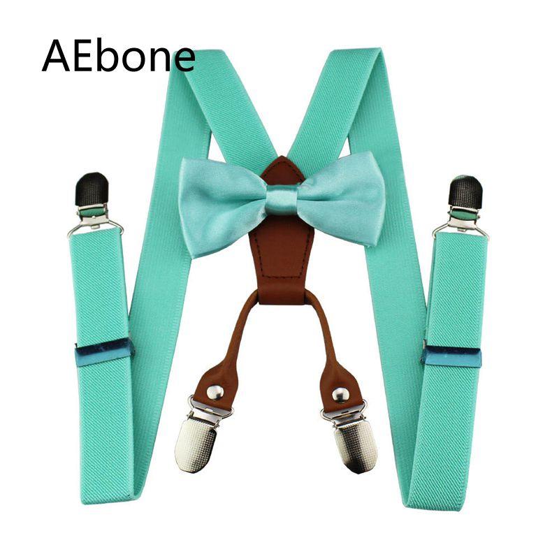AEbone Baby Boys Bow Ties And Suspenders Child Girls Y-sharp Leather Suspenders With 4 Clip Suspensorio Kids Tirantes Sus43