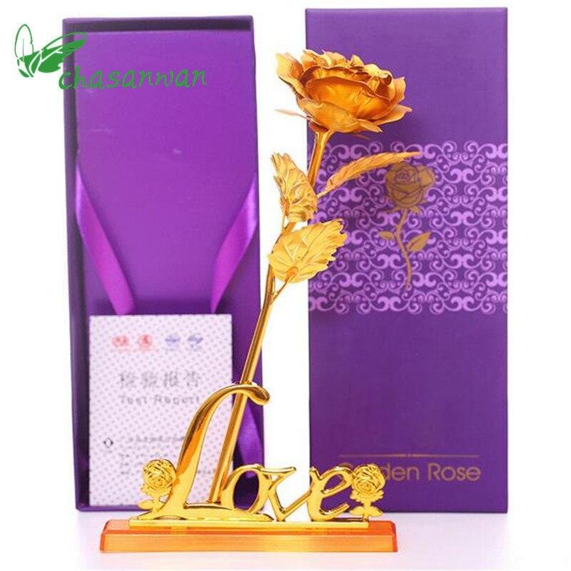 1 unids/lote 25 cm festival de partido 24 k oro flor color de rosa artificial de