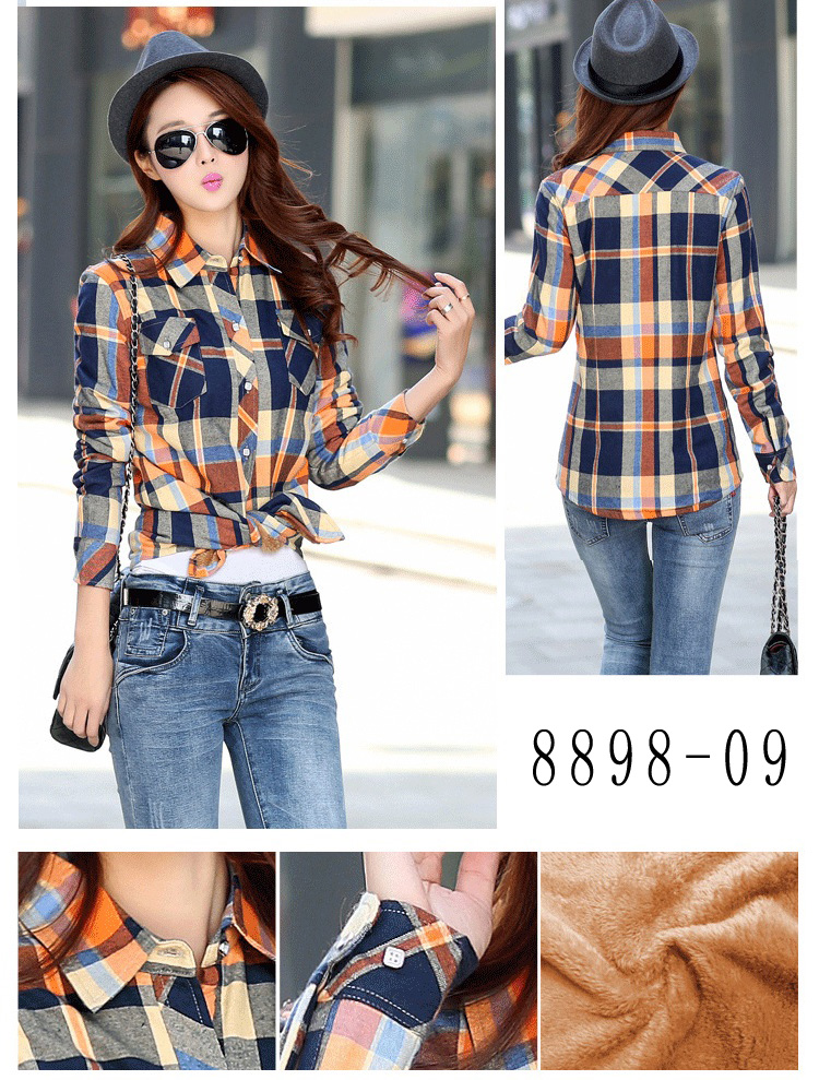HTB18s8ZRVXXXXX1XXXXq6xXFXXX5 - Velvet Thick Warm Women's Plaid Shirt Female Long Sleeve