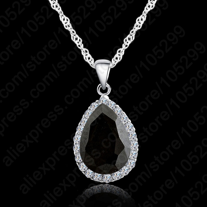 0cfa53dee JEXXI Hot Women Crystal Rhinestone Drop Chain Necklace Pendant For Women  Jewelry Statement 925 Sterling Silver Necklace Gift