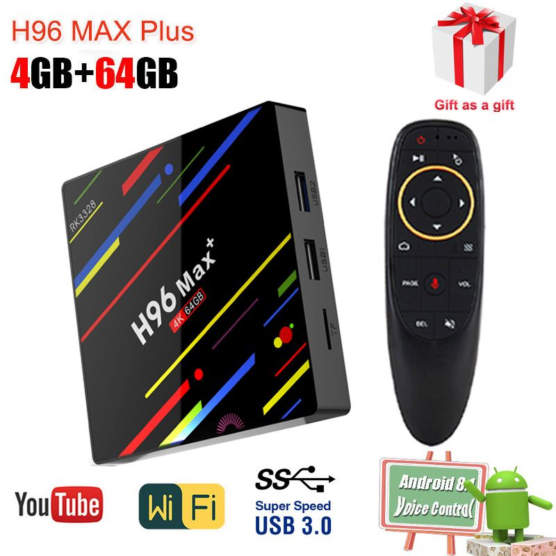 Android tv set top box h96 max Plus Quad-core 4g RAM RK3328 64g ROM 2.4G/5GHz Dual Band WiFi 1080p 4k smart Google Media Player