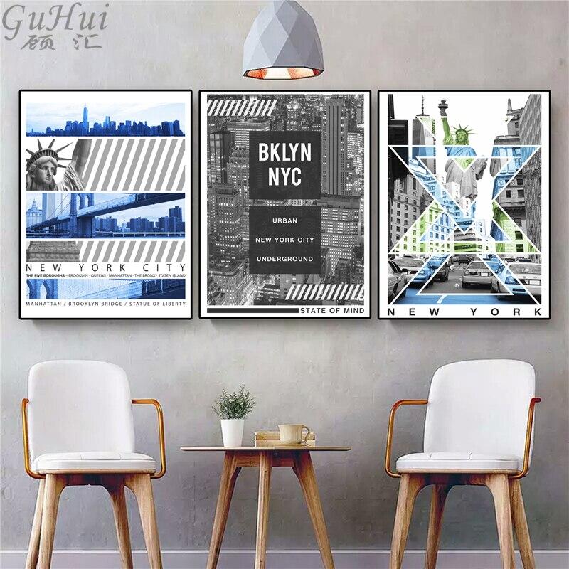 3 64 51 De Réduction Style Industriel Américain New York Ville Paysage Toile Peinture Maison Statue De Liberté Mur Photos Décoratif Texte