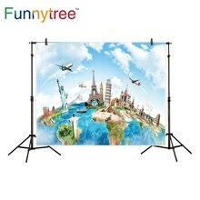 Funnytree fundos para photo studio viagens mundo do mapa famoso arquitetura photo studio profissional pano de fundo photobooth