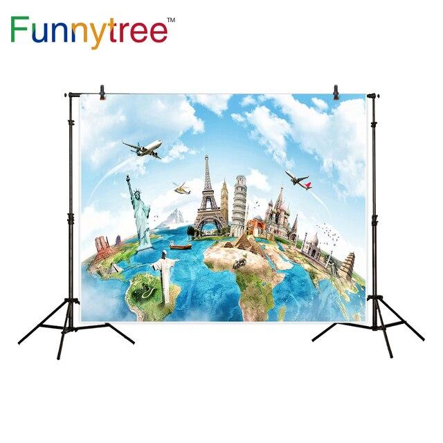 Funnytree hintergründe für foto studio reise welt von karte berühmte architektur foto studio professional hintergrund photobooth