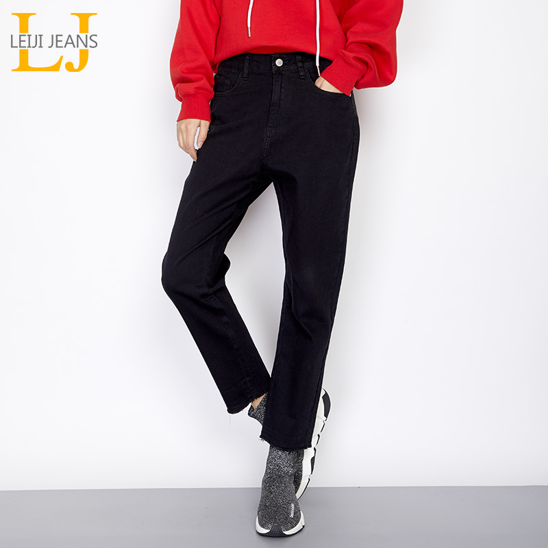 LEIJIJEANS New Arrival Autumn Casual Style Plus Size Mid Waist Ankle Length Solid Black   Jeans   Loose Harem   Jeans   For Women 7154