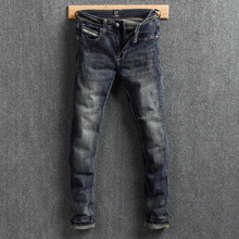 Vintage Designer Men Jeans Retro Washed Slim Fit Classical Ripped Jeans Men Denim Distressed Pants Streetwear Hip Hop Jeans
