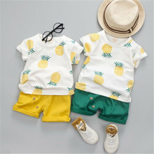 цена на Children Clothes 2019 Summer Cotton Printed Kids Short Sleeves T-Shirt+ Shorts Suits Toddler Boys Clothing Sets 1 2 3 4 5 Years