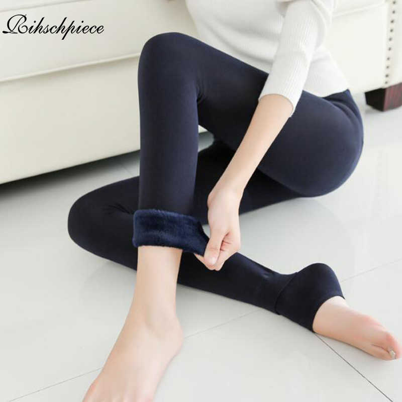 119296c7e2f67f Rihschpiece 2018 Winter Warm Leggings Women Punk Black Fashion Pants Thick  Jeggings Fleece High Waist Legging