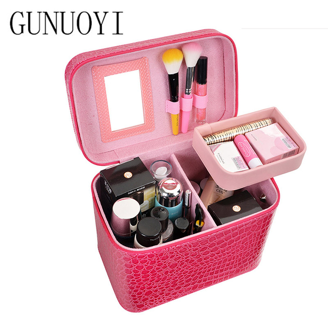 GUNUOYI Professional Makeup Case Crocodile PU Cosmetics Bag Case Portable Trave Makeup Bag Case Cosmetic 7 kinds of Color GY-03