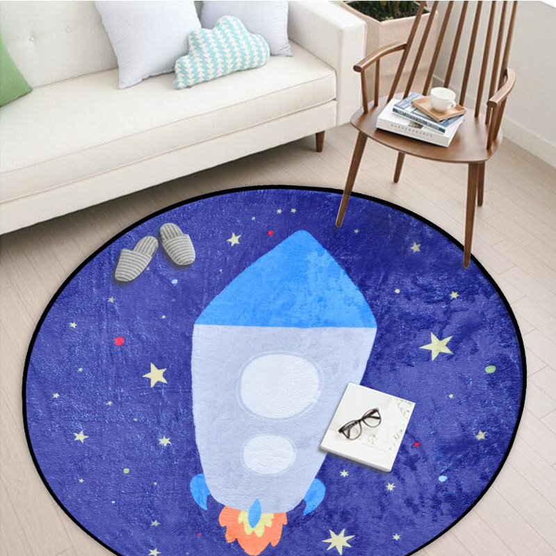 Us 12 28 30 Off Cartoon Round Carpet Clock Rocket Pattern Children Kids Area Rugs For S Room Baby Play Crawling Floor Mats In