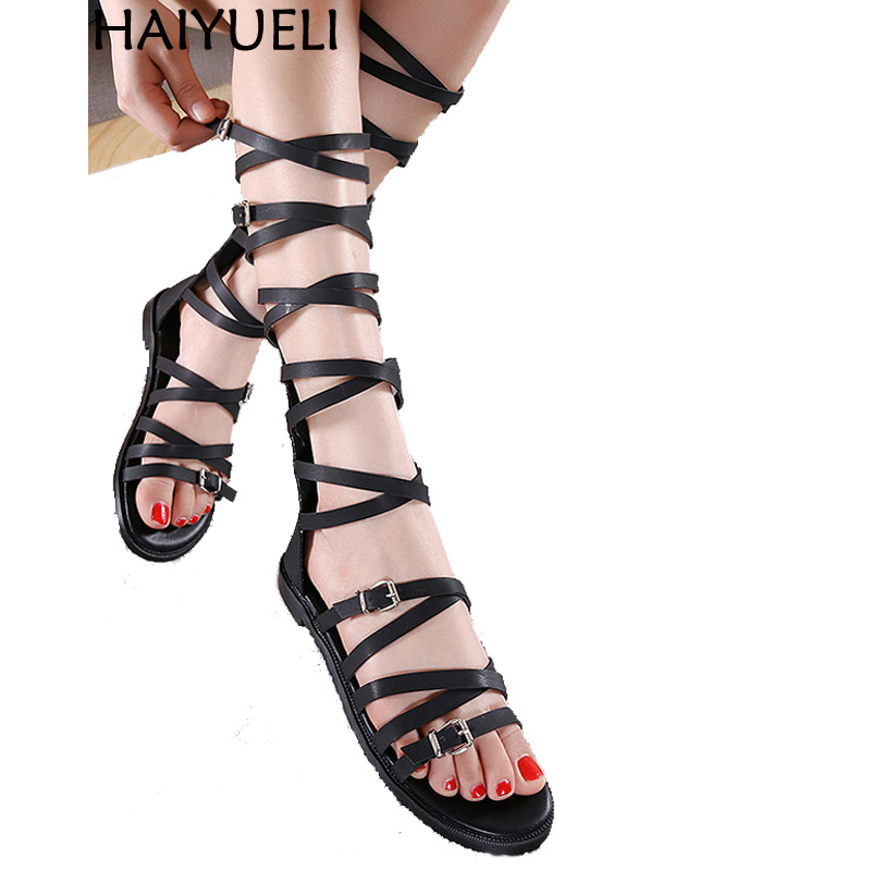 Women Gladiator Sandals Fashion Flat Shoes With Ankle Straps Buckle Sandals Black Zipper Long Boots Roman Sandals Women gladiator women s sandals 2018 summer new casual shoes women s shoes european roman style zipper bag with flat women s sandals