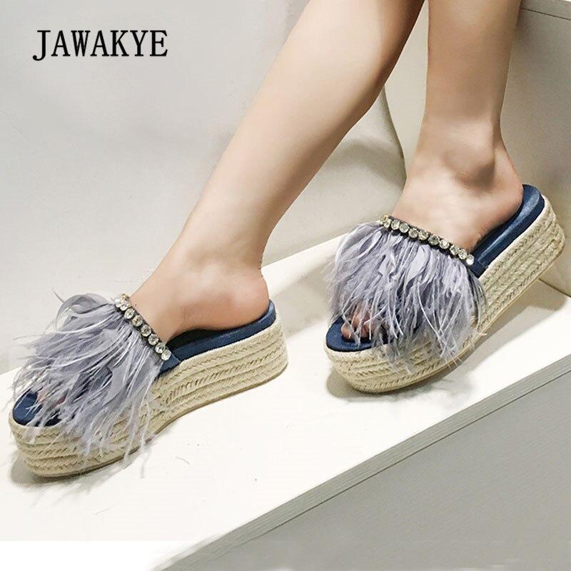 2018 Blue Feather Denim Platform Wedges Sandals Woman Open Toe Rhinestone Straw Thick Bottom Slip Gladiator Sandals Femme raw trim denim sandals