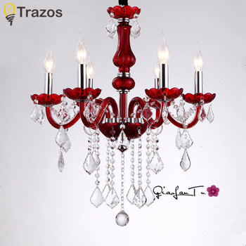 hot selling smoked k9 crystal chandelier lustre crystal chandeliers lustres de cristal chandelier e14 led ac lampshades included Modern Red Crystal Chandelier K9 Crystal 110~240V lustre de cristal chandelier for Kitchen Dining room lighting lustre para sala
