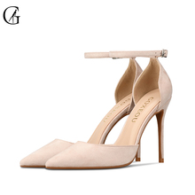 GOXEOU 2018 Women Shoes size 32-46 Thin Heel High Heels Sexy Pointed Toe Flock Lace-up Wedding Office Handmad Free Shipping