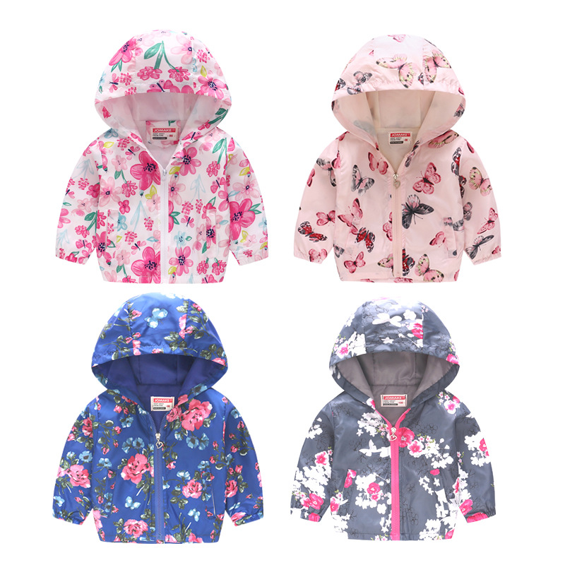Casual Toddler Baby Kid Boys Girls Floral Hooded Tops Jacket Coat Outerwear New