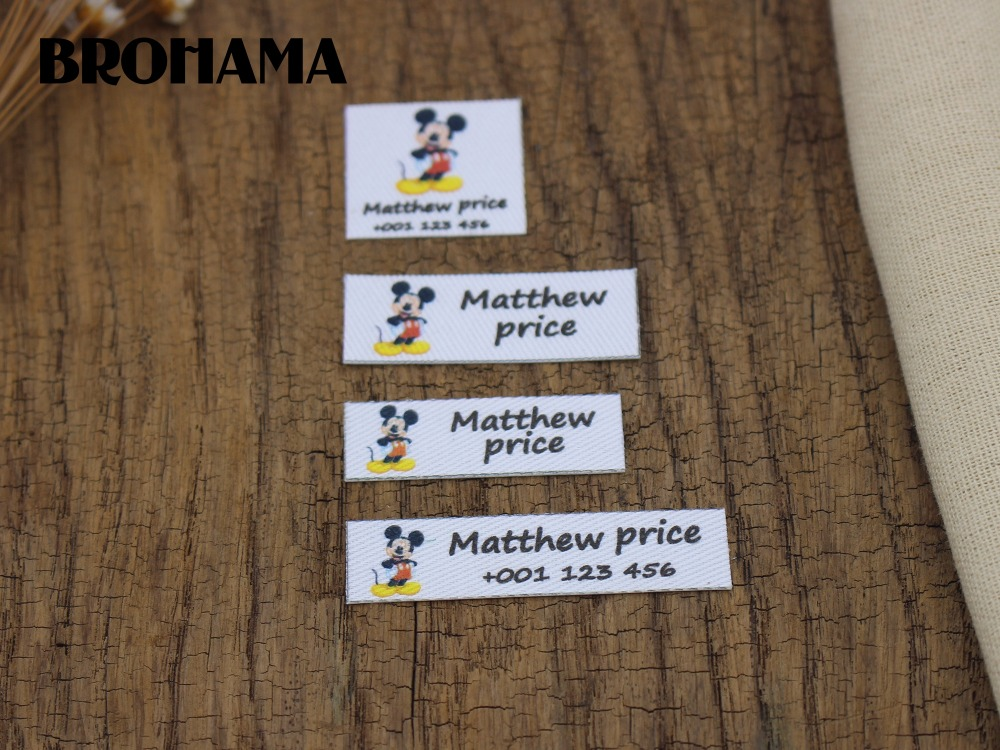 Custom name label, children's clothing label, ironing label, boy and girl tag, Happy Mickey (L77)