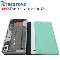 RTBESTOYZ 10PCS Front Frame Bezel Housing LCD Screen Holder+Middle Frame Housing Plate Bezel For Sony Xperia C4 With Back Cover