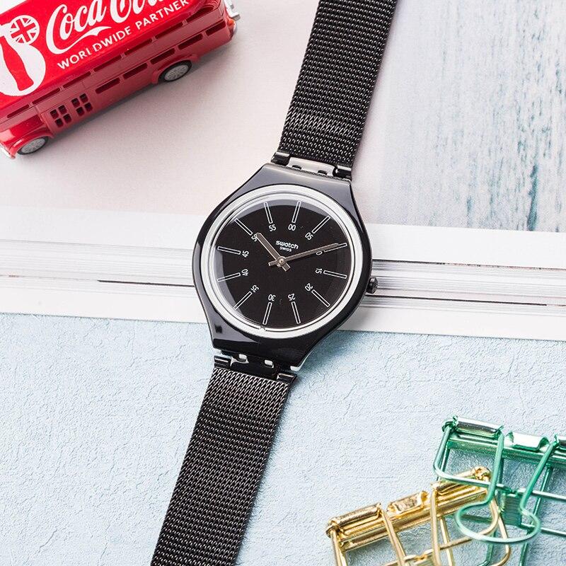 Swatch watch SKIN series simple fashion black quartz men and women table SVOB100M цена и фото