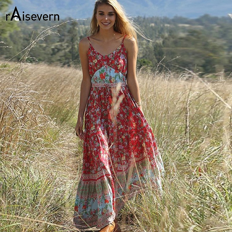Raisevern Casual Boho <font><b>Dress</b></font> Women 2019 Summer Spaghetti Strap Beach <font><b>Dress</b></font> <font><b>Sexy</b></font> <font><b>V</b></font> <font><b>Neck</b></font> Women Maxi <font><b>Dresses</b></font> Long Vestidos image