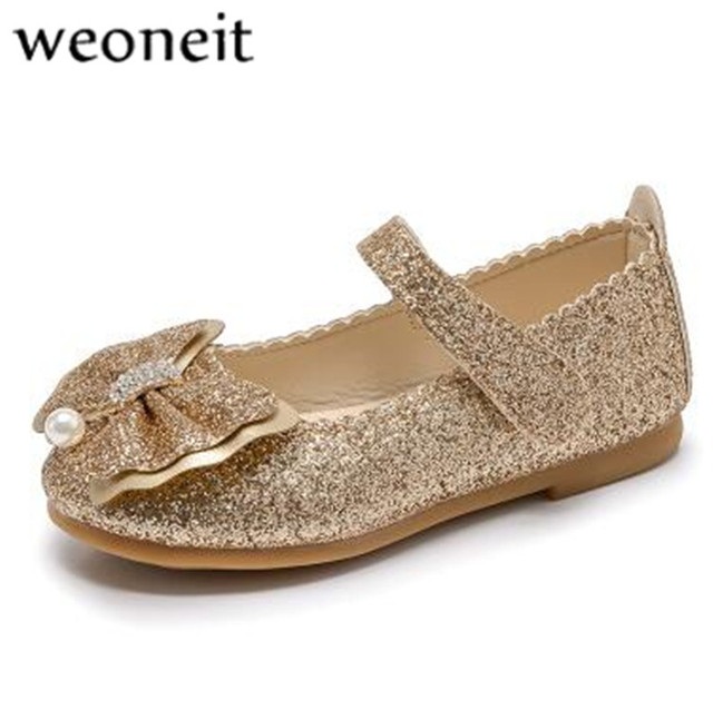 Weoneit Cute Girls Leather Shoes Fashion Sequins Bow Children Shoes Party  Dance Princess Flower Girl Shoes for Girls d5c1f1d1badb