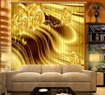 Custom Any Size 3D Curtain Golden Yellow Flowers Window Curtain Living Room 3D Bathroom Curtain 3D Curtain Blackout