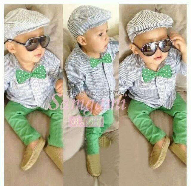 08c60d6e5 3 unids set nuevo 2015 marca de moda cool boy ropa del bebé trajes de la  camiseta + pants + tie copiar jeans ropa del bebé establece en Sistemas de  ...