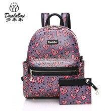 2 шт./компл. небольшой Женщины Рюкзаки 2017 женские школьные сумки для девочек-подростков с принтом из искусственной кожи Mochila сумка кошелек
