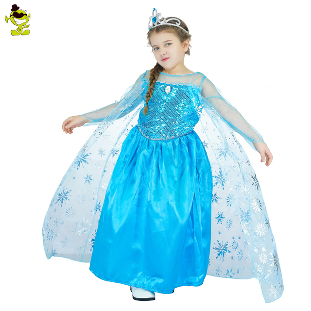 New Teen Snow Queen Girls Dresses Role Play Prom Party Elsa Dress For Kids Halloween Costume Clothes Princess Dresses For Girls